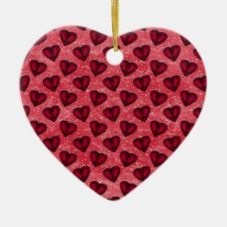 Rote Glitter-Herzen Keramik Ornament