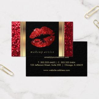 Rote Glitter-Lippen und elegantes Gold Visitenkarte