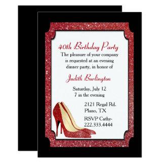 Rote Glitter-Stilett-Geburtstags-Einladung 12,7 X 17,8 Cm Einladungskarte