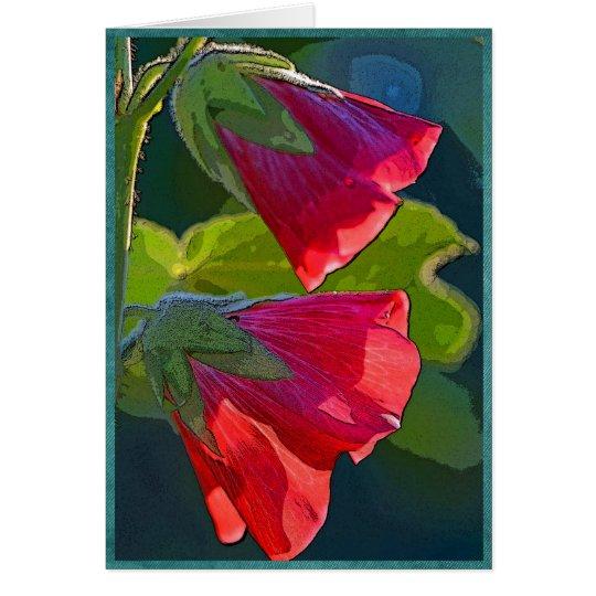 Rote glockenförmige Blumen Grußkarte