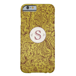 Rote Goldblumenkunst-kundenspezifischer Monogramm Barely There iPhone 6 Hülle