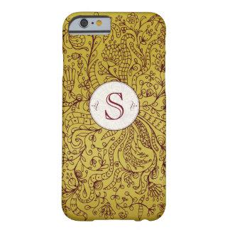 Rote Goldblumenkunst-kundenspezifischer Monogramm Barely There iPhone 6 Hülle