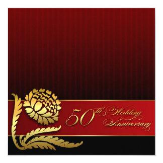 rote goldene Einladungen des 50. Hochzeitstags