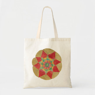 Rote goldene handgemalte Mandala-Budget-Tasche Tragetasche