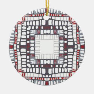 Rote Grafik Keramik Ornament