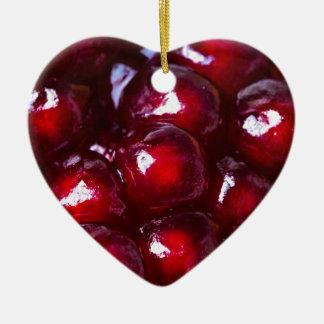 Rote Granatapfel-Samen Keramik Herz-Ornament