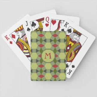 Rote grüne graue Fliesen des Monogramms Spielkarten