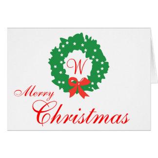 Rote grüne Kranz-Monogramm-frohe Weihnacht-Karten Grußkarte