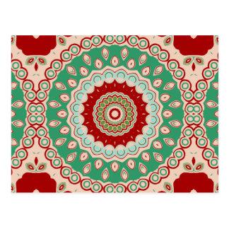 Rote, Grüne u. Aqua-Kaleidoskop-Blumen Postkarte