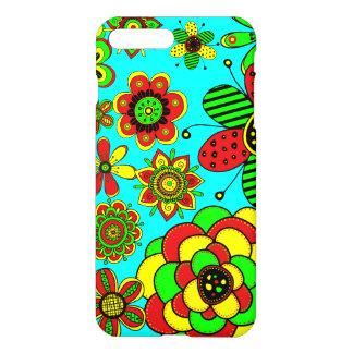 Rote, grüne und gelbe Blumen iPhone 7 Plus Hülle