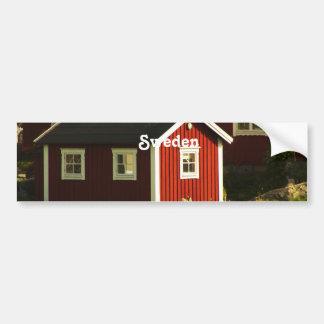 Rote Häuser in Schweden Autoaufkleber