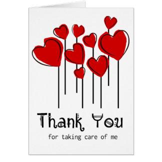 Rote Herz-Ballone danken Ihnen, Notecard zu Mitteilungskarte