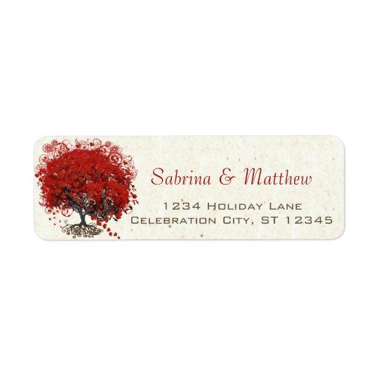 Rote Herz-Blatt-Baum-Hochzeit
