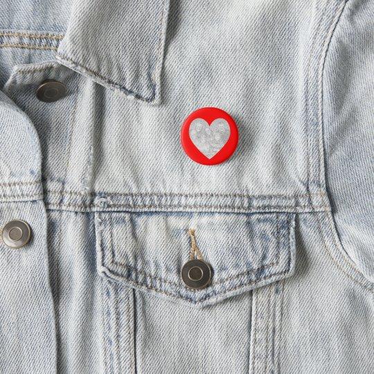 Rote Herz-Foto-Schablone Runder Button 3,2 Cm