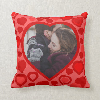 Rote Herz-Fotogrenze Kissen