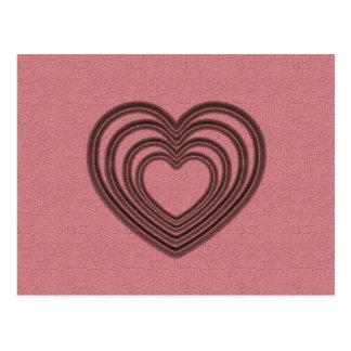 Rote Herz-Kräuselung Postkarte