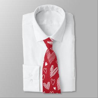 Rote Herz-Mustervalentines-Krawatte Bedruckte Krawatte