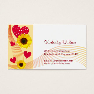 Rote Herz-Visitenkarte der Sonnenblume Visitenkarten
