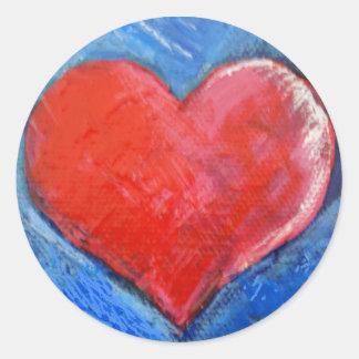 Rote Herzaufkleber Runder Aufkleber