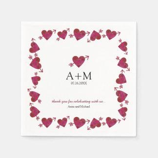rote Herzen der wedding Feier der Liebe Servietten