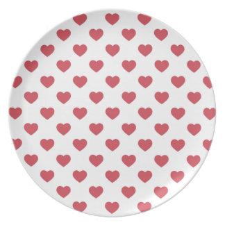 Rote Herzen Melaminteller