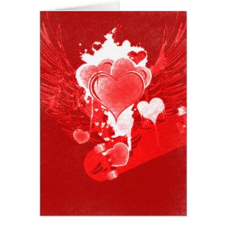 Rote Herzen mit der Karte des Flügel