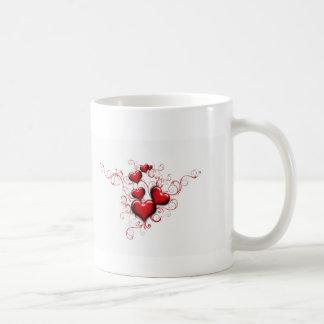 Rote Herzen und Bänder Kaffeetasse