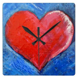 Rote Herzuhr Quadratische Wanduhr