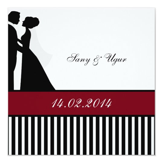 Rote Hochzeits-Paar-Hochzeits-Einladung Quadratische 13,3 Cm Einladungskarte