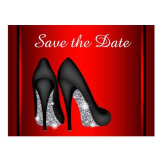 Rote hohe Fersen-Schuh-Save the Date Postkarten