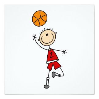 Rote Jungen-Basketball-Spieler-T - Shirts und Quadratische 13,3 Cm Einladungskarte