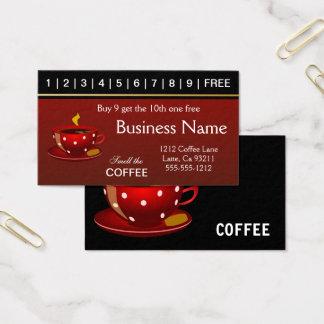 Rote Kaffee-Lochkarten Visitenkarten