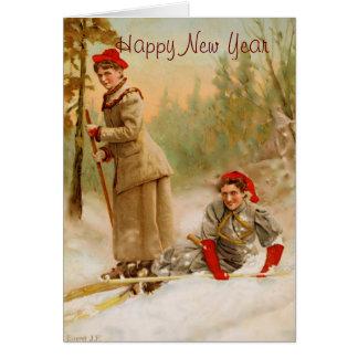 rote Kappenfrauen auf einem Skiausflug Karte