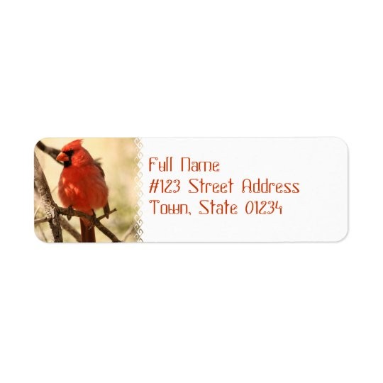 Rote Kardinals-Adressen-Etiketten Kleiner Adressaufkleber