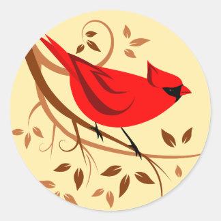 Rote Kardinals-Aufkleber Runder Aufkleber
