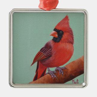 Rote Kardinals-Vogel-Malerei-Weihnachtsverzierung Silbernes Ornament