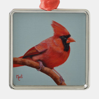 Rote Kardinals-Vogel-Weihnachtsverzierung Silbernes Ornament