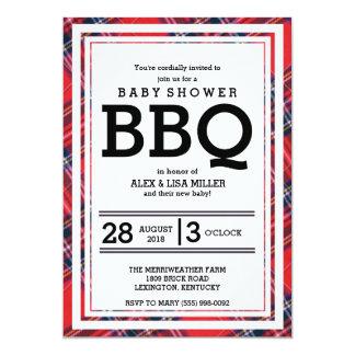Rote karierte Baby-Dusche GRILLEN Party Einladung