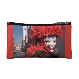 Rote Karnevalsmaske in Venedig, Italien Makeup-Tasche