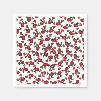 Rote Kirschen auf weißem niedlichem Servietten
