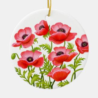 Rote Klatschmohn-Blumen-Verzierung Keramik Ornament