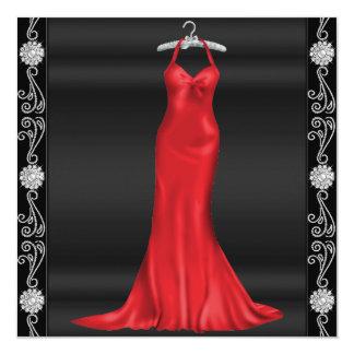 Rote Kleidergeburtstags-Party Einladung