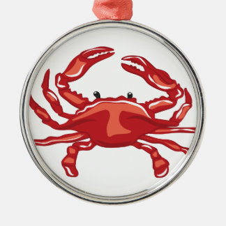 Rote Krabbe Silbernes Ornament