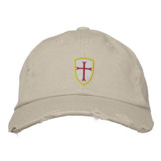 Rote Kreuzfahrer-Kreuz-Schild-Kappe Bestickte Kappe