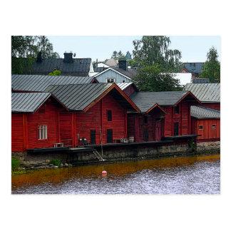 Rote Lagerhäuser in Porvoo, Finnland Postkarte
