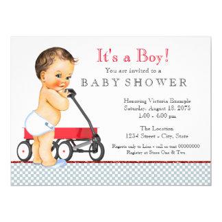 Rote Lastwagen-Babyparty 16,5 X 22,2 Cm Einladungskarte