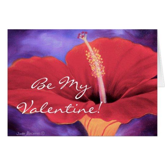 Rote Liebe des Hibiskus-I Sie Valentine… - Grußkarte