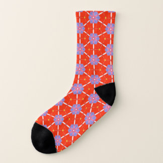 Rote lila Muster Blumen-Japans Chiyogami Origami Socken