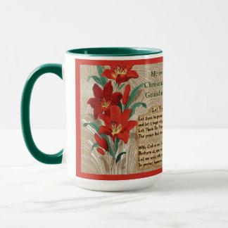 Rote Lilien und WeihnachtsTexte - personalisiert Tasse
