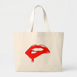 Rote Lippen Jumbo Stoffbeutel
